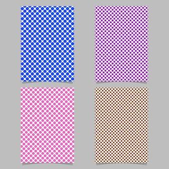 レトロポルカドットカードの背景テンプレートセット - ベクトル文具の背景のデザインと円のパターン