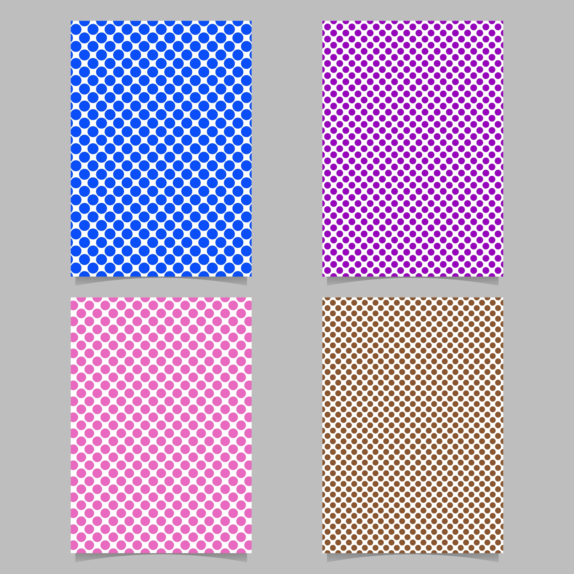 Retro polka dot card background template set - vector stationery background design with circle pattern