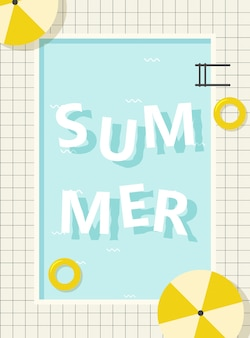 Retro pool summer lettering