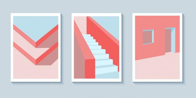 レトロなポップアート建築ポスター