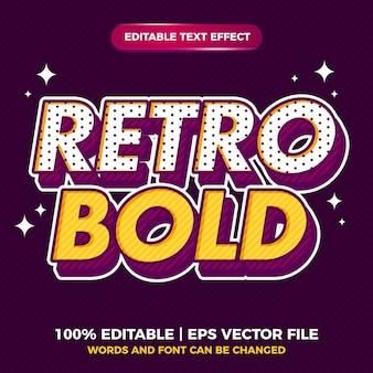 이전 스타일에 대한 레트로 팝 아트 굵은 편집 가능한 텍스트 효과 스타일