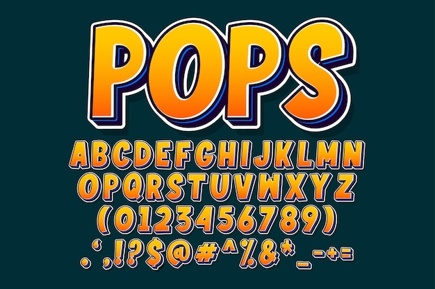 Retro pop art font and number