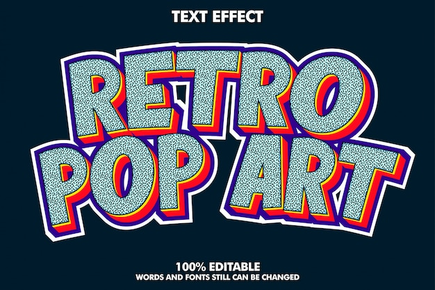 Retro pop art text effect with rich texture