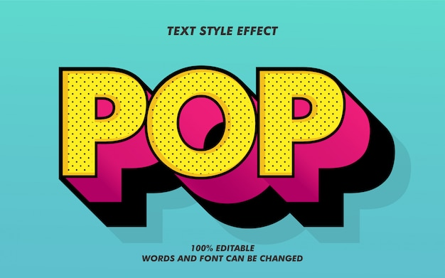 Retro pop bold text style effect