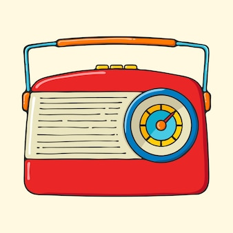 Retro portable radio hand drawn pop art style illustration.