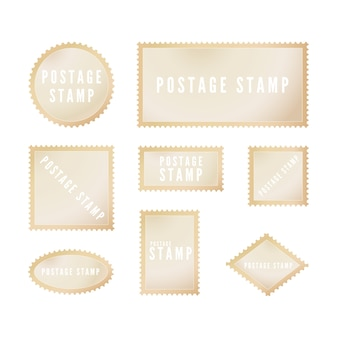 Retro postal stamp template with shadow