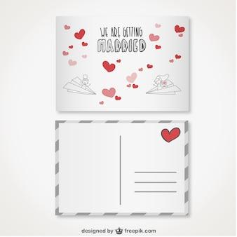 Retro postcard style wedding invitation