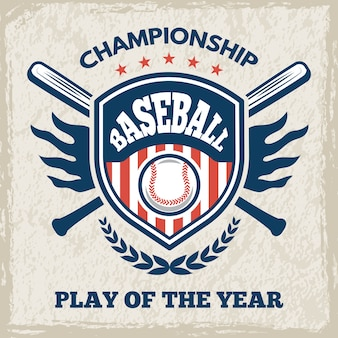 Retro poster for baseball club. sport emblem in  style. baseball emblem club, sport game logo for tournament illustration