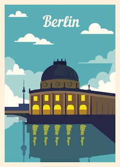 Retro poster berlin city skyline. Premium Vector