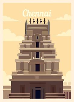Retro poster chennai city skyline.