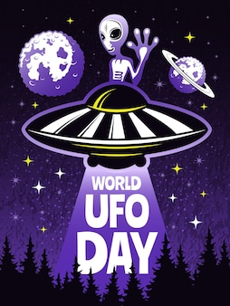 Retro poster concept for world day of ufo. pictures of funny alien.