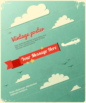 Retro poster design with clouds.