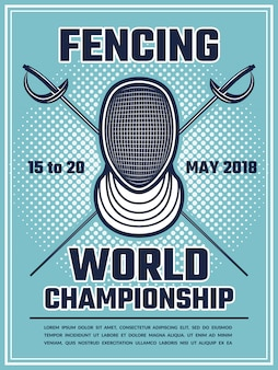 Retro poster for fencing sport
