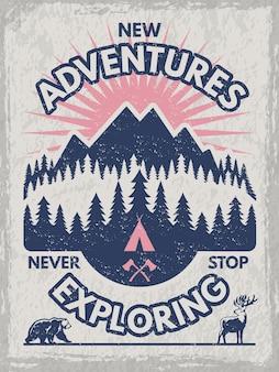 旅行者のクラブのためのレトロなポスター。野生動物のイラスト。あなたのテキストのための場所を持つテンプレート。山を冒険し、森のバナーを探索する