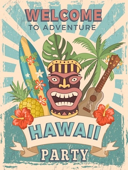 Retro poster invitation for hawaiian party