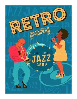 Ретро плакат. джазовая вечеринка. трубач и джазовый певец.