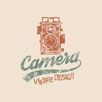 Retro poster or logo template with old camera icon. isolated on grunge halftone