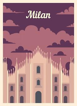 Retro poster milan city skyline.