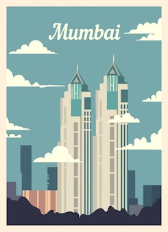 Retro poster mumbai city skyline.
