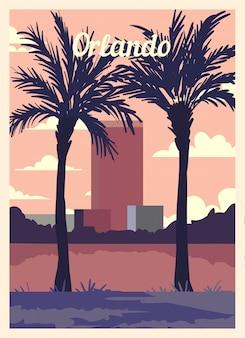 Ретро постер орландо город небоскребов.