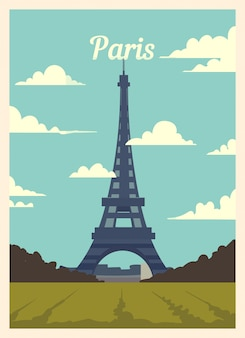 Retro poster paris city skyline.
