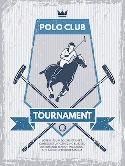 Retro poster of polo club.