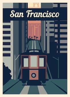 레트로 포스터 샌프란시스코 도시의 스카이 라인.