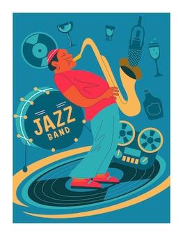 레트로 포스터입니다. 색소폰 연주자.