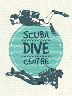 Retro poster for sport club of diving.