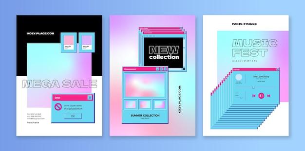 ユーザーインターフェイスとレトロなポスターテンプレートコンピューターソフトウェア画面とヴィンテージ販売バナー