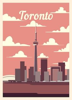 Ретро постер торонто город небоскребов.