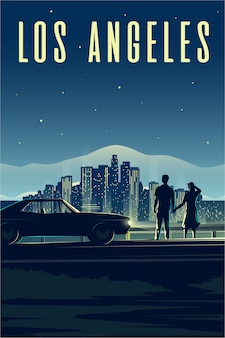 Retro poster. vertical illustration. la. los angeles. man and woman look at the night city. couple in love. cityscape.