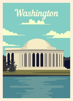 Retro poster washington city skyline.