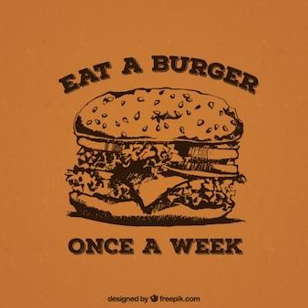 햄버거와 함께 레트로 포스터