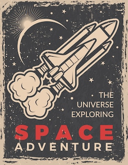 Retro poster with space shuttle.