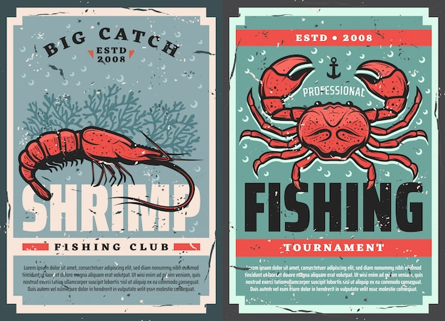 Retro posters, seafood shrimps and crab fishing