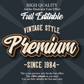 Retro premium script editable typography font effect