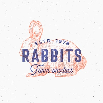 Retro print effect abstract  sign, symbol or logo template. hand drawn rabbit sillhouette sketch with typography. vintage farm products emblem or stamp.