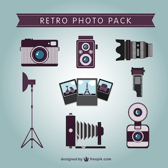 Retro professional photographer pack Free Vector