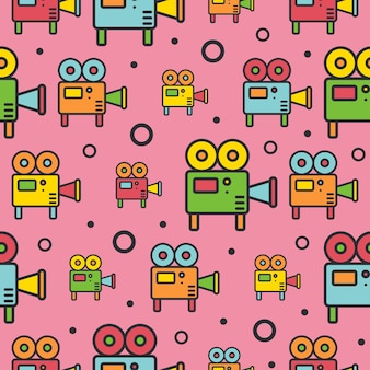 Retro projectors line icons seamless pattern.