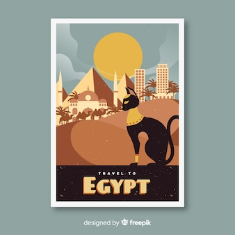 Retro promotional flyer of egypt template