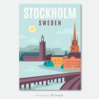 Retro promotional flyer of stockholm template