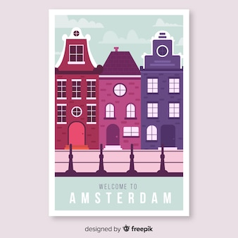 Retro promotional poster of amsterdam template