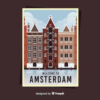 Retro promotional poster of amsterdam
