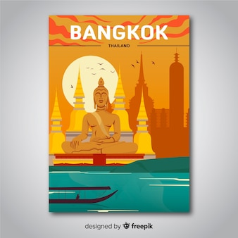 Retro promotional poster of bangkok  template