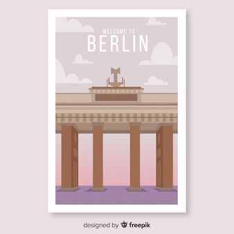 Retro promotional poster of berlin template