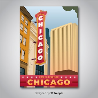 Retro promotional poster of chicago template