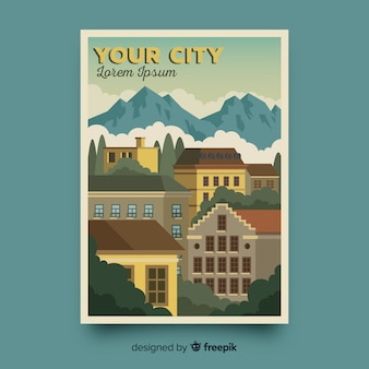 Retro promotional poster of a city template