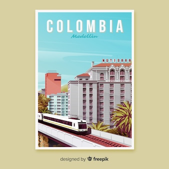 Retro promotional poster of colombia