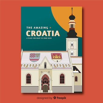 Retro promotional poster of croatia